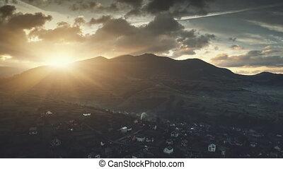 Highland village dawn sunlight scenery aerial view -...