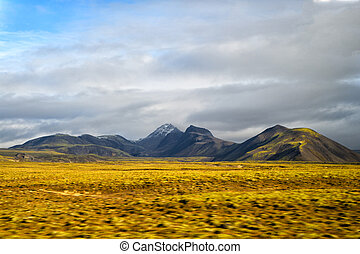 Highlands of Iceland concept. Haukadalur valley in Iceland....