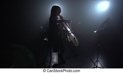Highlight from the light in a room girl plays the cello. Silhouette. Black smoke background