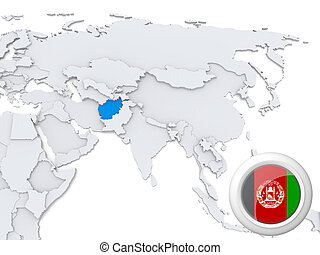 Afghanistan on map of Asia
