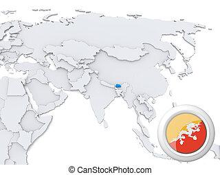 Bhutan on map of Asia