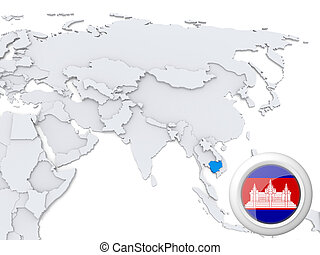 Cambodia on map of Asia