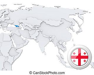 Georgia on map of Asia