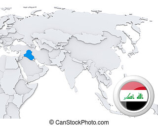 Iraq on map of Asia