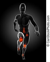 Highlighted joints - 3d rendered illustration - runners...