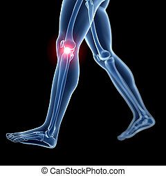 Highlighted knee - 3d rendered illustration of a painful...