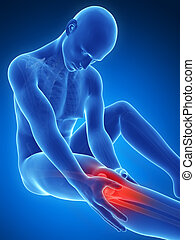 Highlighted knee - 3d rendered illustration of pain in the...