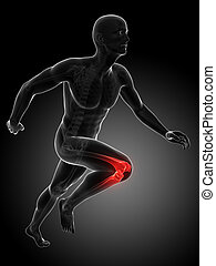 Highlighted - knee - 3d rendered illustration - painful knee