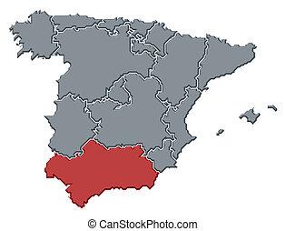 highlighted, mapa, andalusia, hiszpania