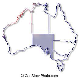 highlighted, mapa, australia, australia, południe