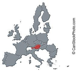 highlighted, mapa, austria, zjednoczenie, europejczyk