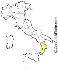 highlighted, mapa, calabria, włochy