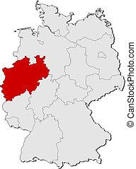 highlighted, mapa, na północ rhine-westphalia, niemcy