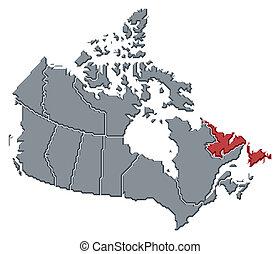 highlighted, mapa, newfoundland, labrador, kanada