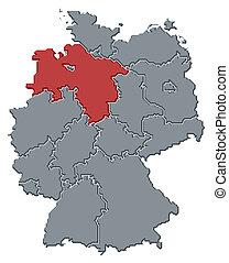 highlighted, mapa, niższy, niemcy, saxony