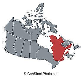 highlighted, mapa, quebec, kanada