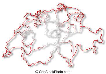 highlighted, mapa, swizerland, zug