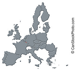 highlighted, mapa, zjednoczenie, luksemburg, europejczyk