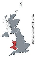 highlighted, mapa, zjednoczony, walia, królestwo