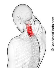 Highlighted neck - 3d rendered illustration - painful neck