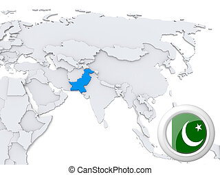 Pakistan on map of Asia