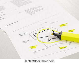 Highlighted radar diagram peaks on printed paper