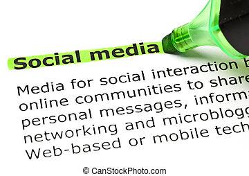 highlighted, 'social, zielony, media'