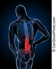 Highlighted spine - 3d rendered illustration of a man having...
