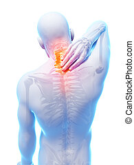 Highlightedl neck - 3d rendered illustration - painful neck