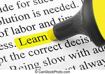 highlighter, és, szó, tanul