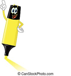Cartoon highlighter pointing with his finger