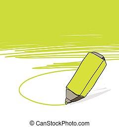 highlighter, conceito, com, espaço, para, seu, texto