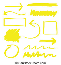 Highlighter Elements - Yellow vector highlighter elements...