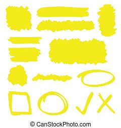 Highlighter Elements - Yellow highlighter marker...