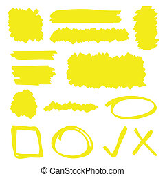 Highlighter Elements - Yellow highlighter marker...