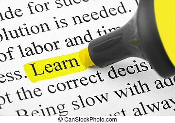 highlighter, en, woord, leren