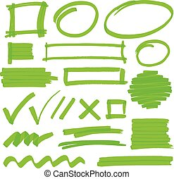 Highlighter Marking Design Elements - Set of hand drawn...