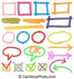 Highlighter marks, stripes, strokes, frames, speech bubbles, crosses, ticks and arrows vector set