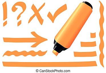 Highlighter Orange Marker - Orange highlighter - fluorescent...