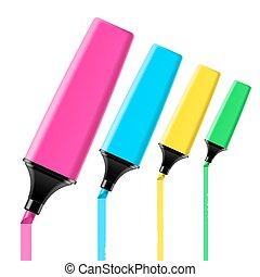Highlighter pens - Vector illustration of highlighter pens