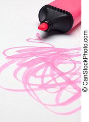 highlighter, roze, scribbles