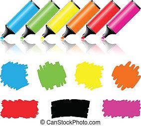highlighter, scribbles, pluma, papel, blanco, pedazo