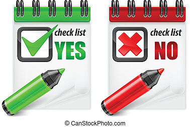 Highlighter with check mark and words yes, no on notebook, vector illustration