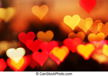 highlights., életlen, heart-shaped, háttér, kedves
