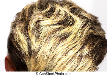 highlights on the hair of the head on a white background