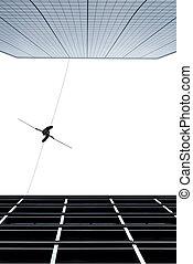highline, piechur, pojęcie, od, ryzyko biorące, i, wyzwanie