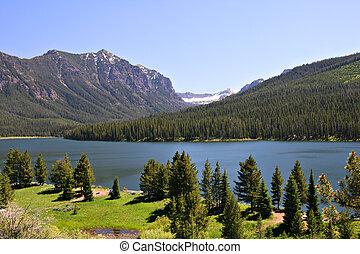 highlite, 湖, ∥において∥, gallatin の国有林, bozeman, montana, アメリカ