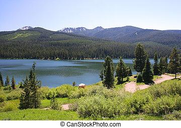 highlite, lago, en, bosque del nacional del gallatin,...