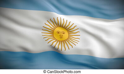 Highly detailed Argentinean flag ripples in the wind. Looped 3d animation for continuous playback.