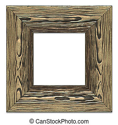Highly detailed blank picture frame, rough bronze painted wooden texture, isolated on white background